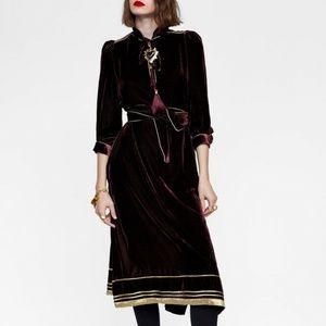 Zara Burgundy Wine & Gold Velvet Boho Tunic Dress